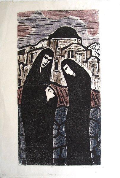 3008: J.Steinhardt Original Signed Woodcut Jewish
