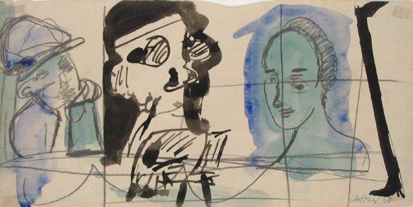 3012: Uri Stettner Original Watercolor Drawing Israeli
