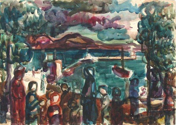 3015: Aharon Giladi Gouache Drawing Israeli Art