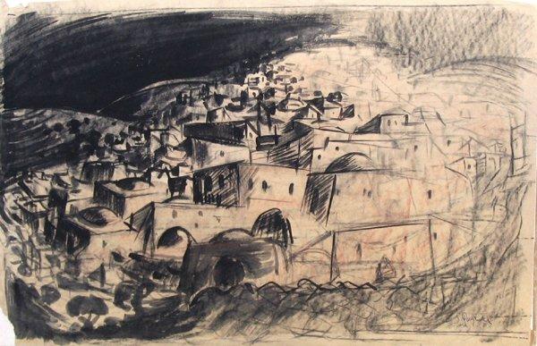 4009: Fima Original Charcoal Drawing Israeli/Chinese