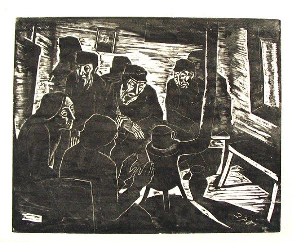 4016: J.Steinhardt Original Signed Woodcut Jewish