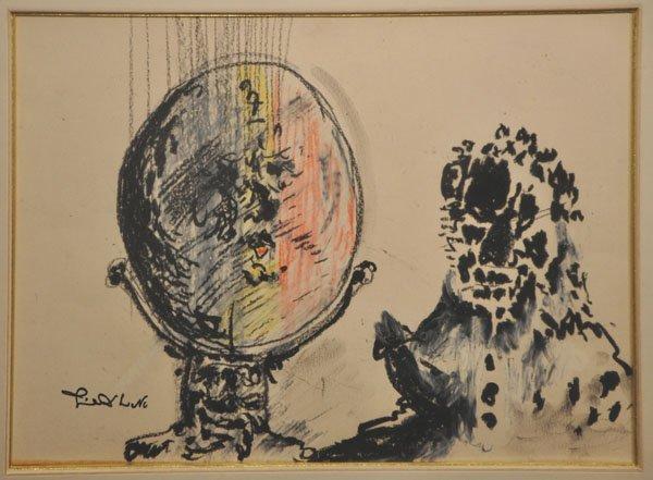 9: Uri Lifshitz, Original pastel drawing, Israeli Art