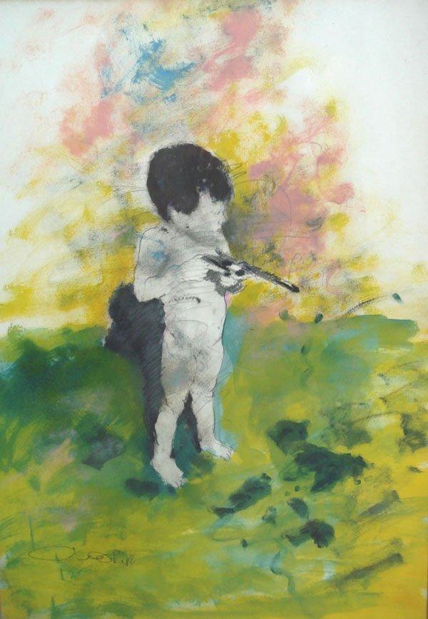 11: Uri Lifshitz, Original rare gouache & Pastel painti