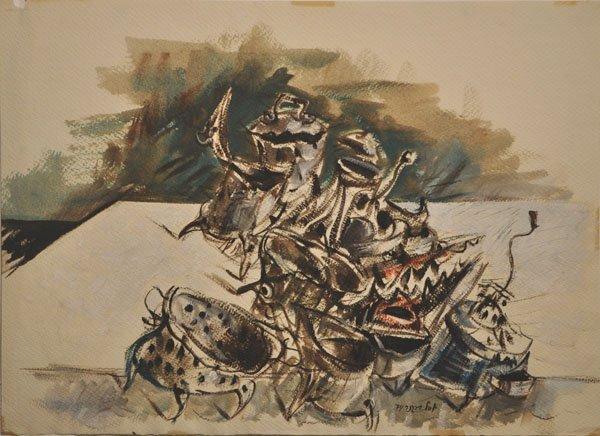 12: Yosl Bergner Gouache Painting Israeli/Australian