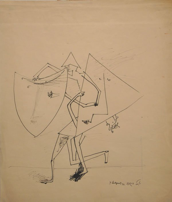 14: Yosl Bergner, rare pen Drawing,1956, Israeli/Austra