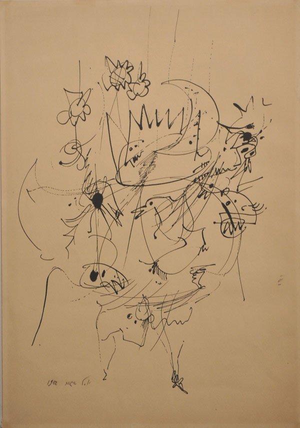 15: Yosl Bergner, rare Original ink Drawing, 1962, Isra