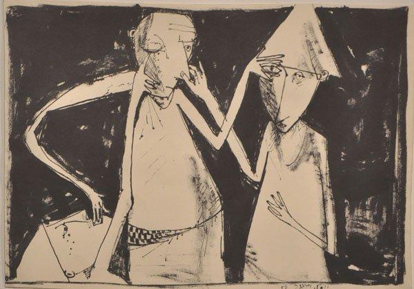 17: Yosl Bergner, rare Original Drawing, 1958, Israeli/