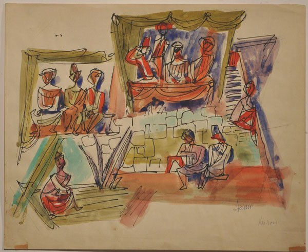 24: Marcel Janco, Original Watercolor Painting, Jewish