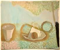 43: Jan Rauchwerger, original gouache painting, Israeli