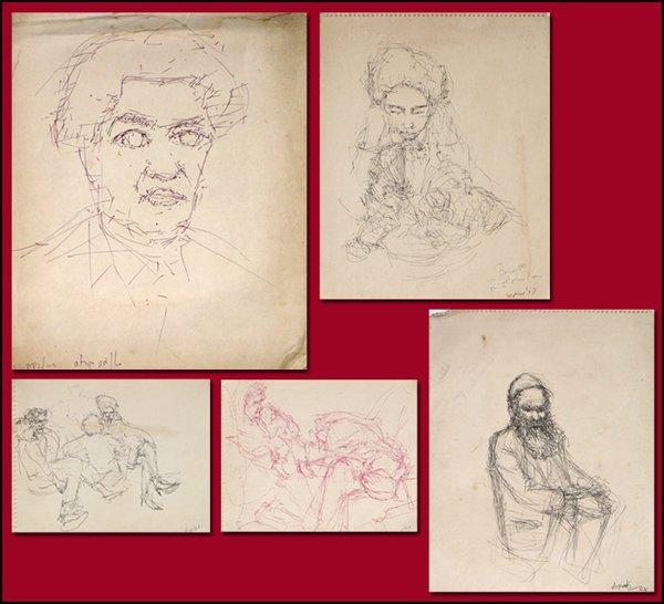6021: Thomas Kroner 5 Original Drawings Israeli Art