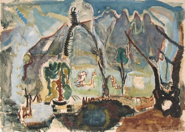 7200: Mordecai Levanon Original Gouache Painting