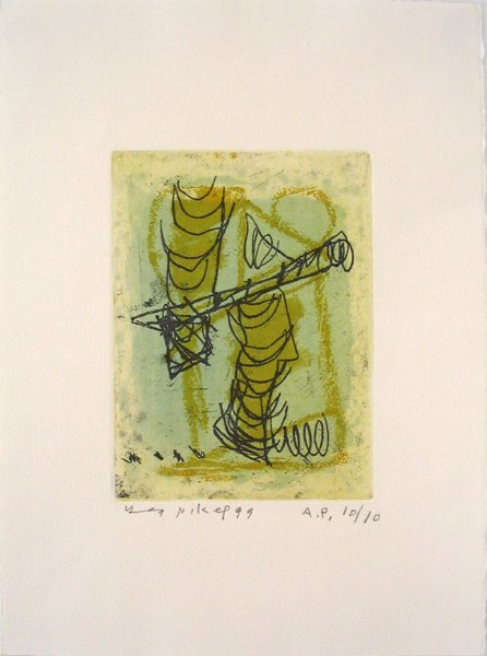7202: Lea Nikel Original Signed No. Etching Israeli Art