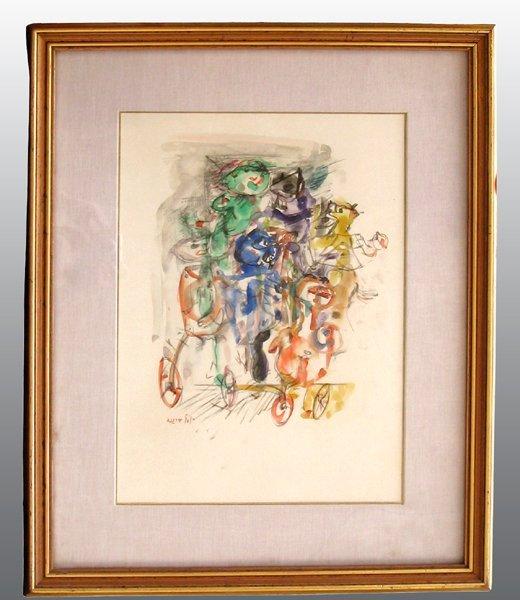 7210: Yosl Bergner Original Watercolor Painting