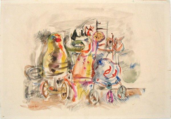 7211: Yosl Bergner Original Watercolor Painting