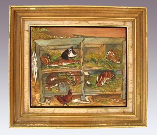 7223: Moreno Pincas Original Oil Painting Israeli Art