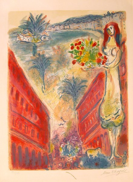 """7307: Marc Chagall signed & No.lithograph """"Nice"""""""