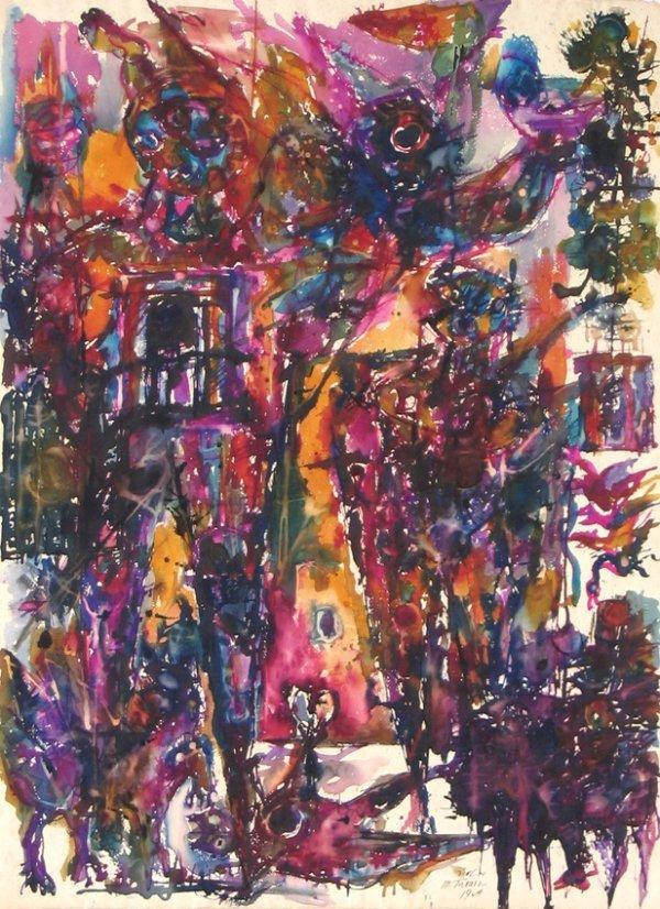 8201: Moshe Tamir Original Watercolor Drawing