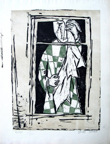 8202: Y.Bergner Original Signed No. Woodcut Israeli/Aus