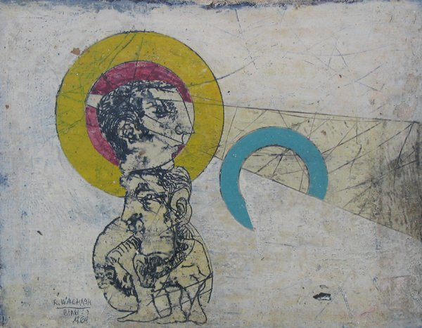 8217: Rafael Wachash Original Oil Painting Israeli Art