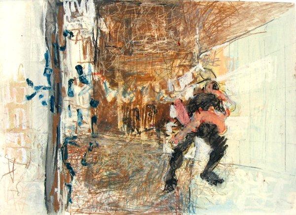9223: Joshua Neustein Original Pastel Painting