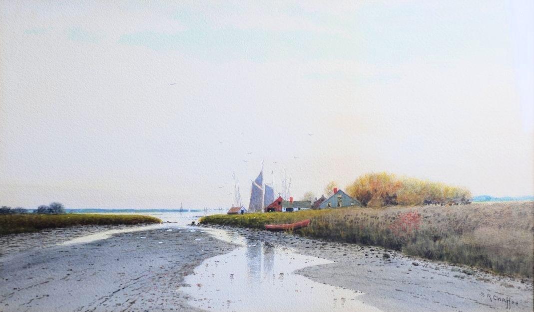 Samuel R. Chaffee-Boston Harbor Scene Watercolor
