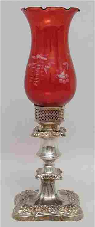SILVER CANDLESTICK CRANBERRY SHADE