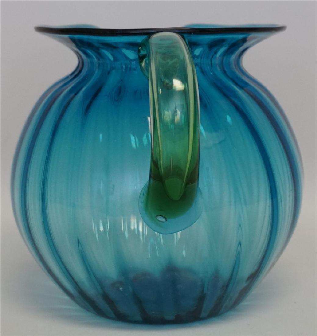 BLENKO GLASS BLUE LEMONADE PITCHER - 2