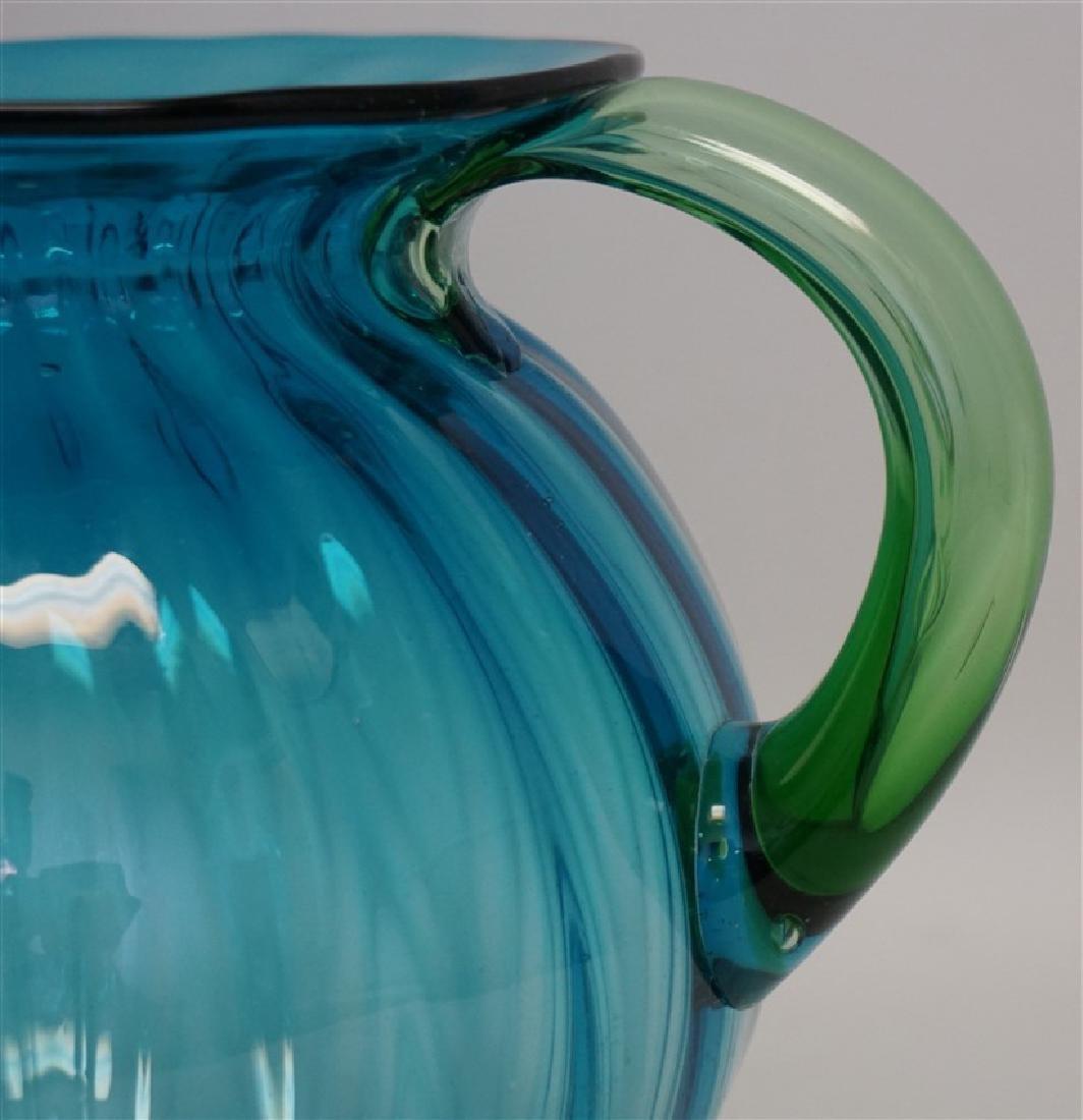BLENKO GLASS BLUE LEMONADE PITCHER - 3