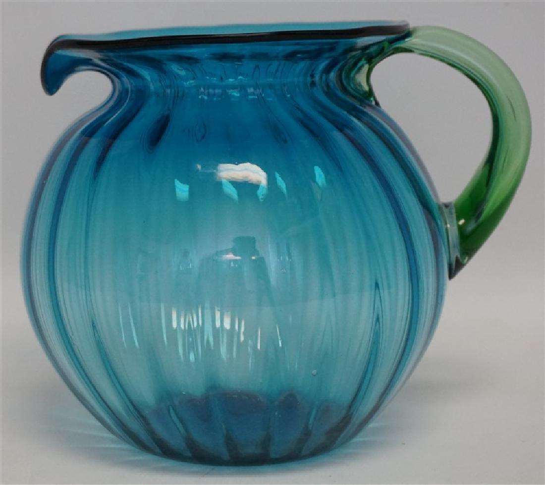BLENKO GLASS BLUE LEMONADE PITCHER - 4