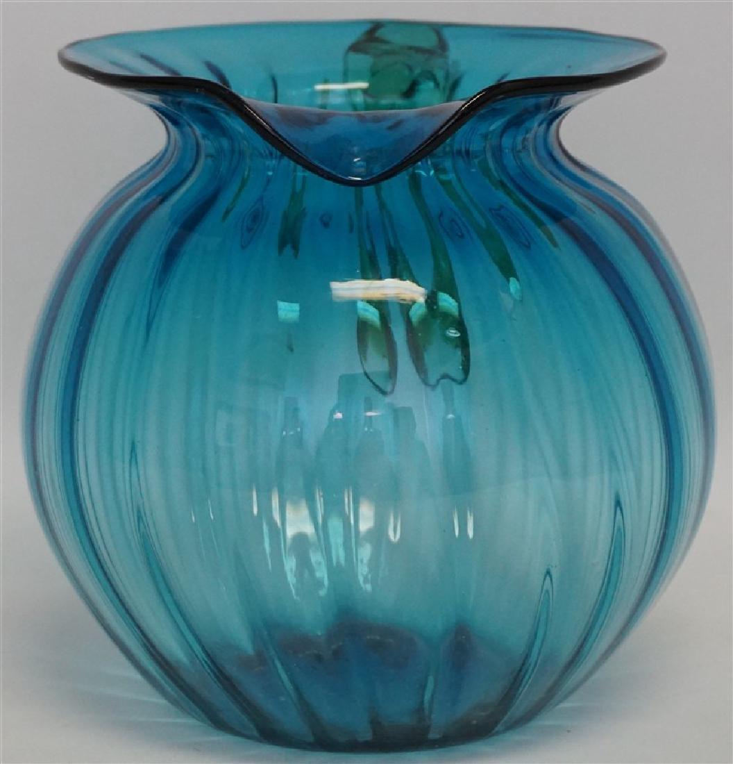 BLENKO GLASS BLUE LEMONADE PITCHER - 5