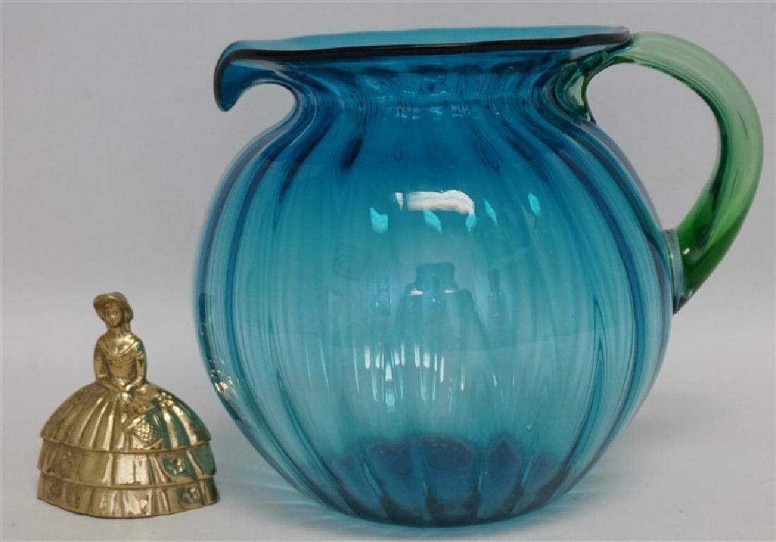 BLENKO GLASS BLUE LEMONADE PITCHER - 8