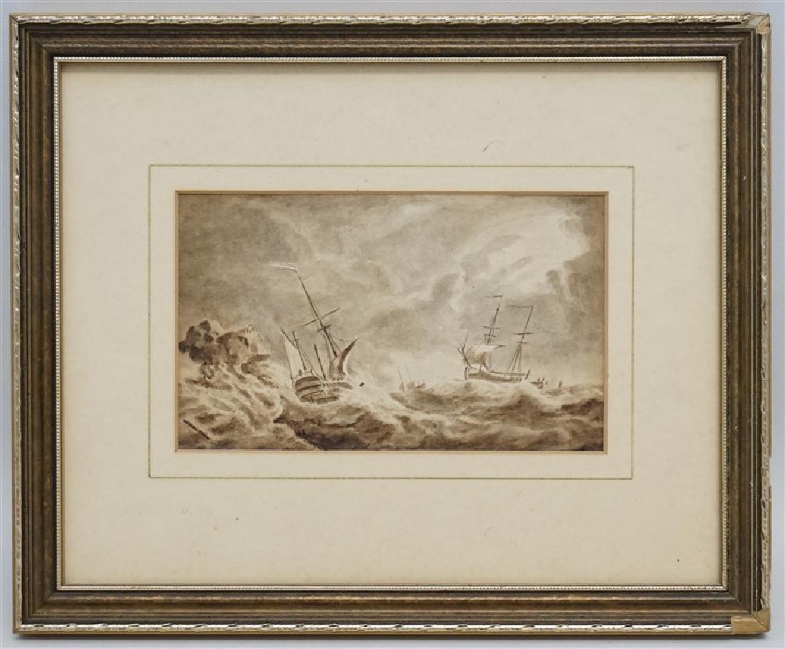 19th c. ENGLISH MARITIME SEPIA WATERCOLOR