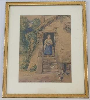 19th c FEEDING THE CHICKENS WATERCOLOR