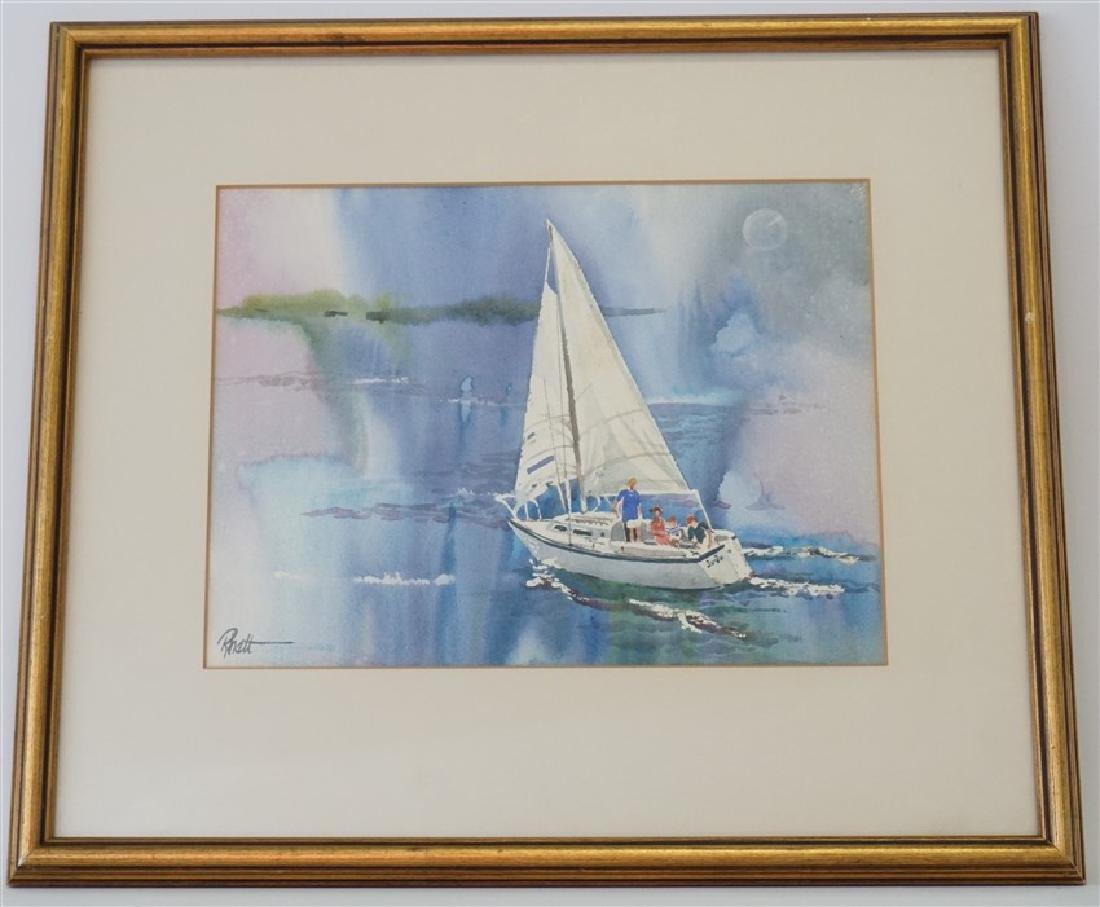 RHETT THURMAN CHARLESTON SAILING WATERCOLOR