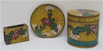 CLOISONNE ENAMEL BRONZE SMOKING SET