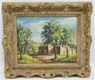 COUNTRY HOME OIL ON BOARD ORNATE FRAME