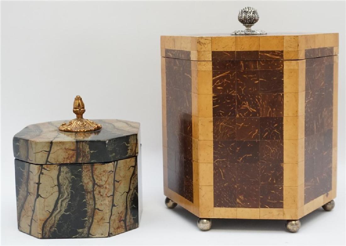 2 MAITLAND SMITH TESSELLATED TEA CADDY BOXES