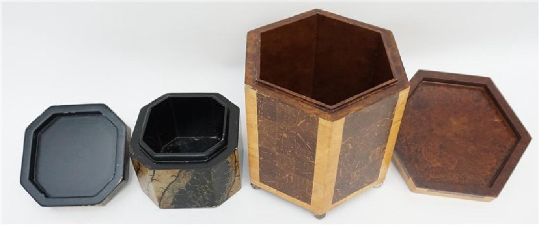 2 MAITLAND SMITH TESSELLATED TEA CADDY BOXES - 7