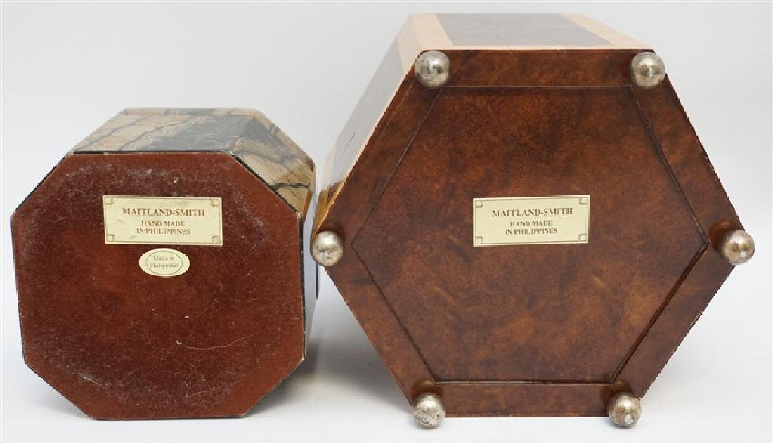 2 MAITLAND SMITH TESSELLATED TEA CADDY BOXES - 8