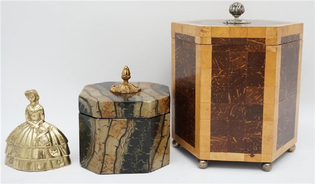 2 MAITLAND SMITH TESSELLATED TEA CADDY BOXES - 9