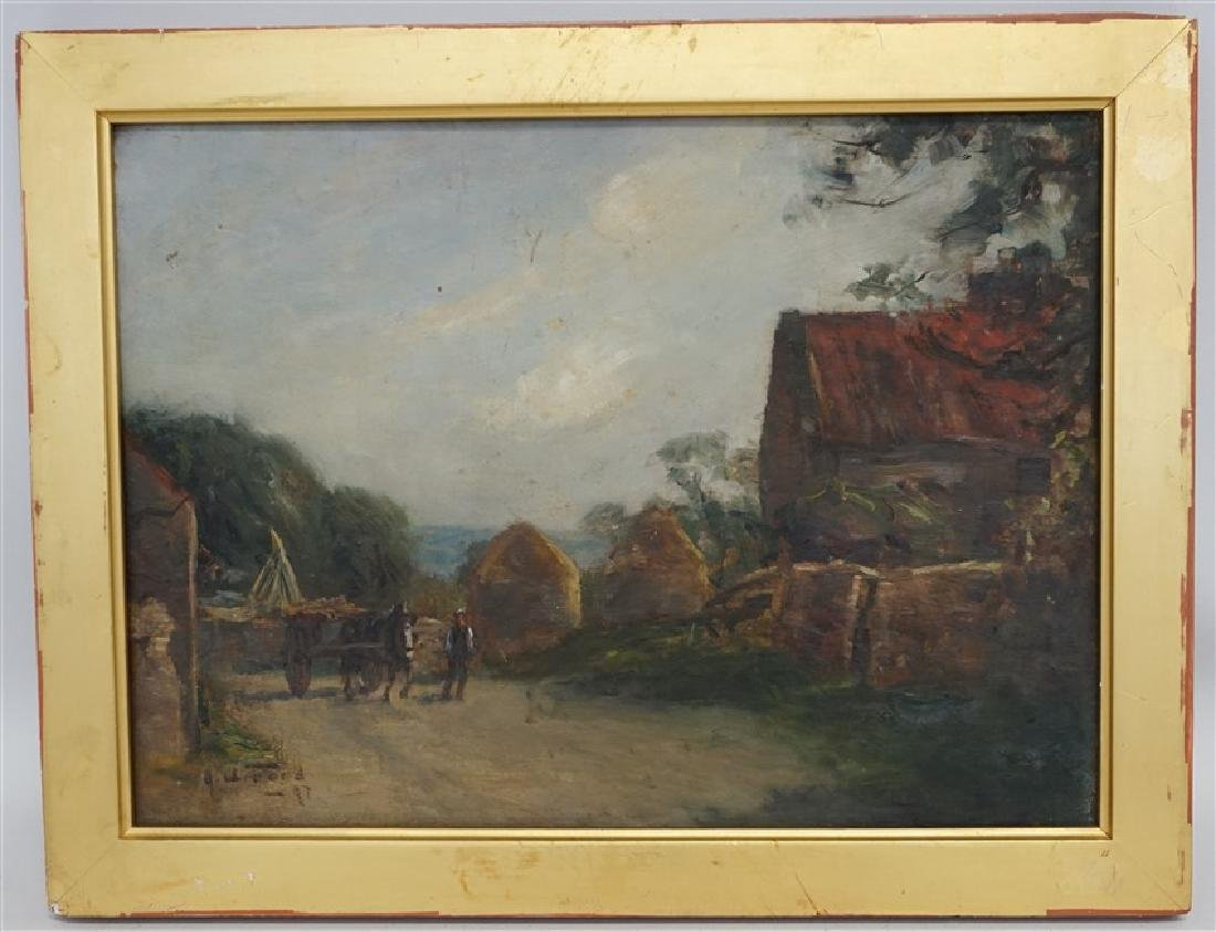 ENGLISH OIL ON BOARD LANDSCAPE W CART