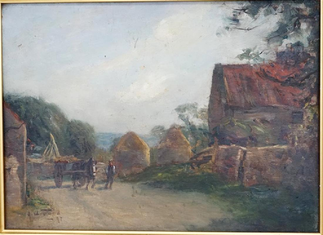 ENGLISH OIL ON BOARD LANDSCAPE W CART - 2