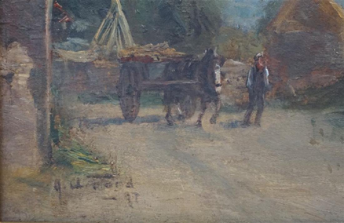 ENGLISH OIL ON BOARD LANDSCAPE W CART - 3