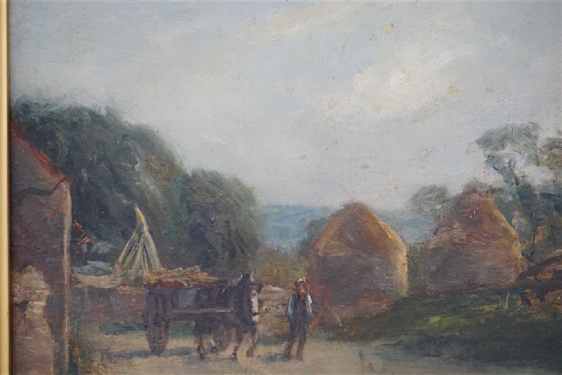 ENGLISH OIL ON BOARD LANDSCAPE W CART - 4