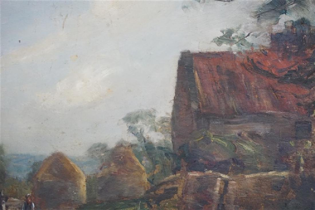 ENGLISH OIL ON BOARD LANDSCAPE W CART - 5