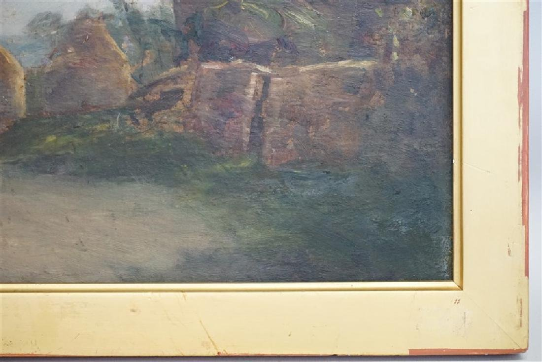 ENGLISH OIL ON BOARD LANDSCAPE W CART - 6