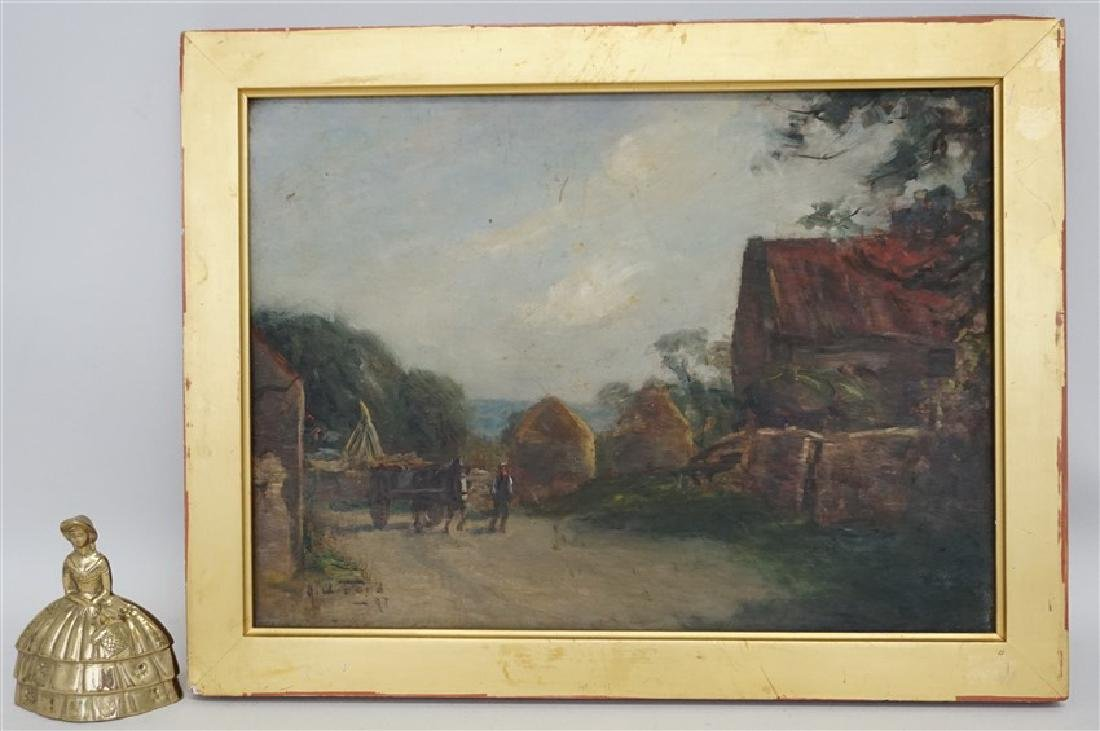 ENGLISH OIL ON BOARD LANDSCAPE W CART - 7