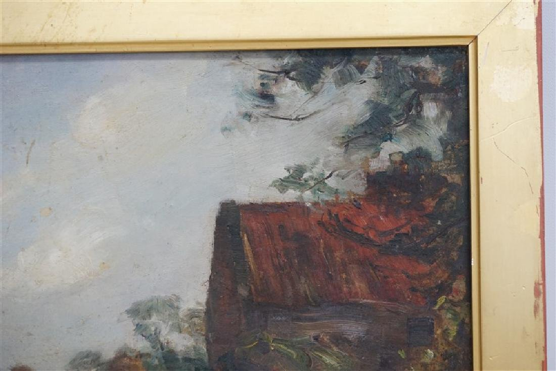 ENGLISH OIL ON BOARD LANDSCAPE W CART - 8
