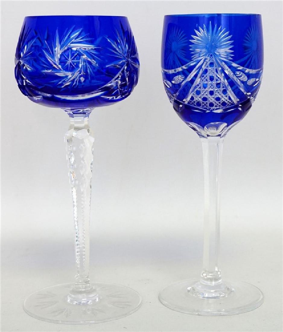 2PC COBALT BOHEMIAN CUT CRYSTAL GLASSES