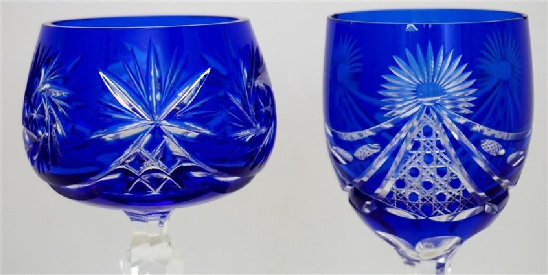 2PC COBALT BOHEMIAN CUT CRYSTAL GLASSES - 2